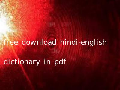 free download hindi-english dictionary in pdf